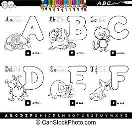 educacional, caricatura, alfabeto, letras, para, coloração
