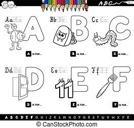 educacional, crianças, cartas colorem, alfabeto, livro