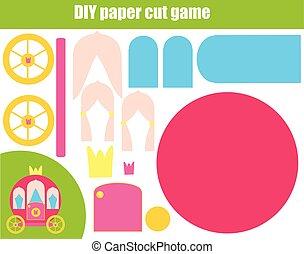 educacional, game., fazer, crianças, criativo, papel, carruagem, corte, diy, tesouras, activity., cola, princesa