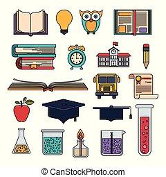 educacional, jogo, coloridos, itens, elementos, educação superior