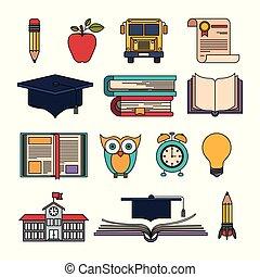 educacional, jogo, cor, itens, elementos, educação superior