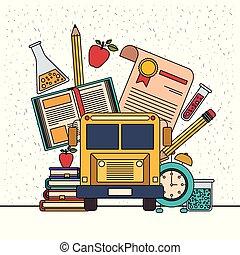educacional, jogo, cor, itens, elementos, faculdade, fundo, faíscas, branca, educação