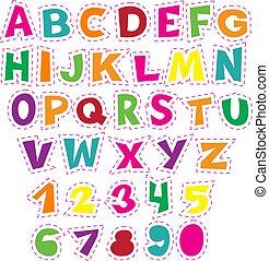 educacional, letras, coloridos, alfabeto, cobrança, numbers., vetorial, children., caricatura