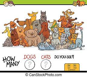 educacional, muitos, como, jogo, gatos, cachorros