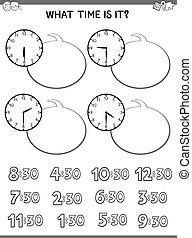 educacional, rosto, crianças, atividade, relógio