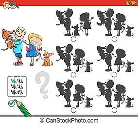 educacional, sombra, jogo, com, crianças, e, cachorros