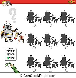 educacional, sombra, jogo, com, robô, caráteres