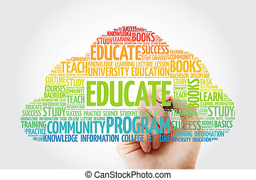 EDUCATE word cloud with marker, education concept background