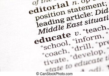 Educate written in thesaurus