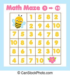 Educatiional children game. Mathematics maze. Labyrinth with numbers from one to ten. Help bee find flower