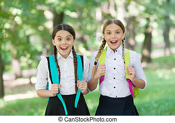 Educating children for future. Happy kids back to learning. Back to school style. Formal fashion, School uniform. Education and schooling. Startup. September 1. Knowledge day.