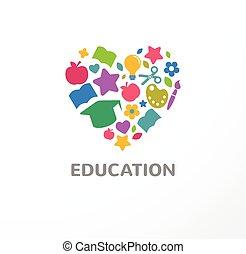 education, école, icône, étudiant, apprentissage