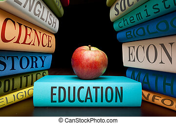 education, étude, livres, et, pomme