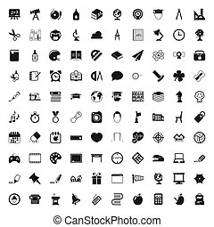 education 100 icons set for web - education 100 icons set...
