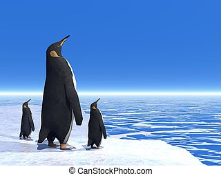 Education - 3D render - Mother penguin and her two little...