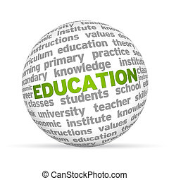 Education - 3D sphere with the word education on white...