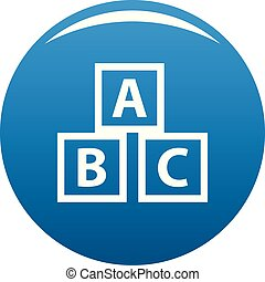 Education abc blocks icon blue vector