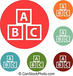 Education abc blocks icons circle set vector