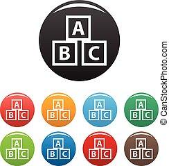 Education abc blocks icons set vector
