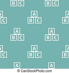Education abc blocks pattern seamless blue