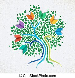 Education abstract concept tree book