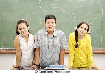 education, activités, dans, classe, à, école, heureux, enfants, apprentissage