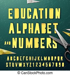 Education alphabet and numbers, cut out from paper -...