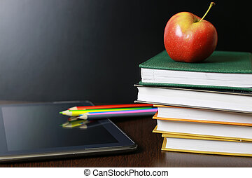 Education an apple and books