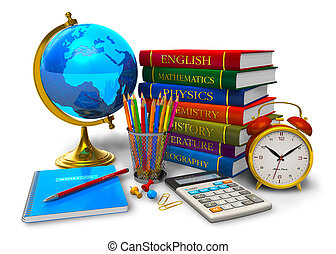 Education and back to school concept: stack of textbooks, desktop globe, calculator and other school/college objects isolated on white background