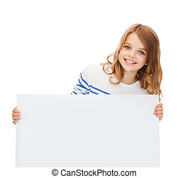 smiling little girl with blank white board - education and...