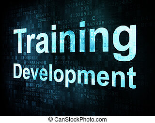 Education and learn concept: pixelated words Training Development on digital screen, 3d render
