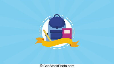education and learn schoolbag and supplies ,4k video...