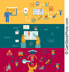 education and learning banners concept, acquisition of ...