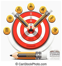 Education And Learning Step Infographic With Pencil Dartboard Subject Diagram