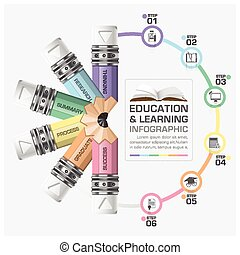 Education And Learning Step Infographic With Rotate Pencil Diagram