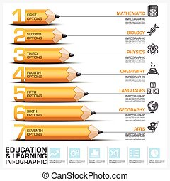 Education And Learning Step Infographic With Subject Of Pencil Diagram