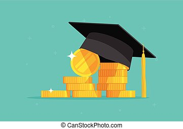 Education and money vector illustration, flat cartoon...