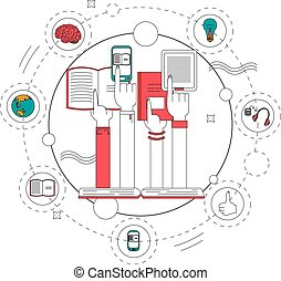 Education and reading books concept vector illustration in linear style. Design elements, line icons