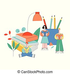 Education and reading vector illustration with little people studying surrounded by big office supplies and books.