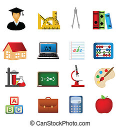Education and school icon set - Education and school related...