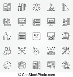Education and school icons set