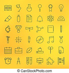 Education and School Line Science Icons Set