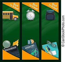 Education and school supplies blackboard banners