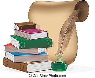 Education and science concept - Hardcover books, paper...