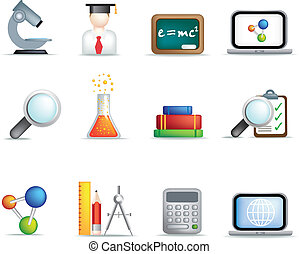 Education and science icon set - detailed education and...