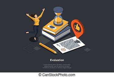 Education And Test Evaluation Concept. Passing Test With Very High Result. Exam Sheet With A Plus Grade, Happy Student, Books, Pencil, Sandglass And Thumbs Up Symbol. 3d Isometric Vector Illustration