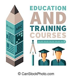 Education and training courses vector concept in flat style