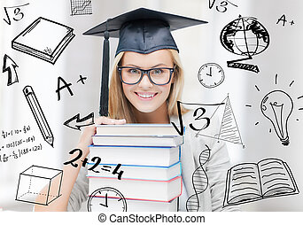 student in graduation cap - education and university concept...