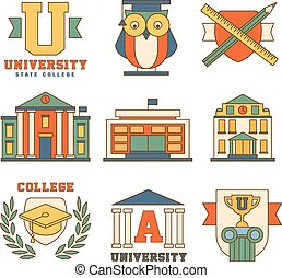 Education and University Set of Icons Vector Illustration Collection in Flat Design Style