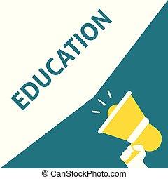 EDUCATION Announcement. Hand Holding Megaphone With Speech Bubble